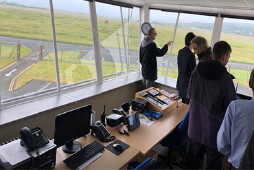 WASP members in Control Tower at Llanbedr
