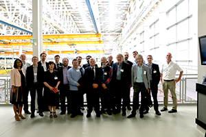 Image: Members of the Wales Academic Space Partnership (WASP) at the Airbus site in Broughton, Flintshire.